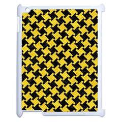 Houndstooth2 Black Marble & Yellow Colored Pencil Apple Ipad 2 Case (white) by trendistuff