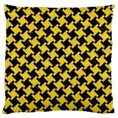 Houndstooth2 Black Marble & Yellow Colored Pencil Large Cushion Case (two Sides) by trendistuff