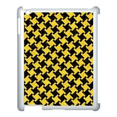 Houndstooth2 Black Marble & Yellow Colored Pencil Apple Ipad 3/4 Case (white) by trendistuff