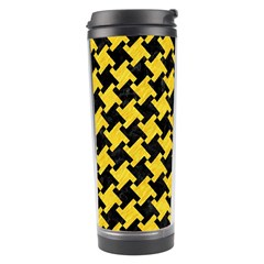 Houndstooth2 Black Marble & Yellow Colored Pencil Travel Tumbler by trendistuff