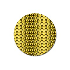 Hexagon1 Black Marble & Yellow Colored Pencil Magnet 3  (round) by trendistuff