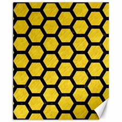 Hexagon2 Black Marble & Yellow Colored Pencil Canvas 16  X 20   by trendistuff