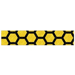 Hexagon2 Black Marble & Yellow Colored Pencil Small Flano Scarf by trendistuff
