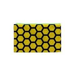 Hexagon2 Black Marble & Yellow Colored Pencil Cosmetic Bag (xs) by trendistuff