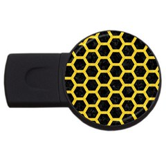 Hexagon2 Black Marble & Yellow Colored Pencil (r) Usb Flash Drive Round (4 Gb) by trendistuff