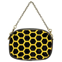 Hexagon2 Black Marble & Yellow Colored Pencil (r) Chain Purses (one Side)