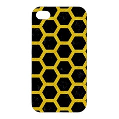 Hexagon2 Black Marble & Yellow Colored Pencil (r) Apple Iphone 4/4s Hardshell Case by trendistuff
