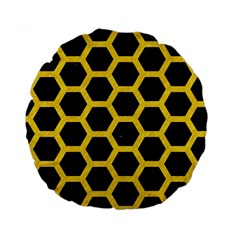 Hexagon2 Black Marble & Yellow Colored Pencil (r) Standard 15  Premium Round Cushions by trendistuff