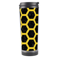 Hexagon2 Black Marble & Yellow Colored Pencil (r) Travel Tumbler by trendistuff