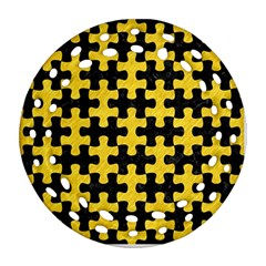 Puzzle1 Black Marble & Yellow Colored Pencil Ornament (round Filigree) by trendistuff