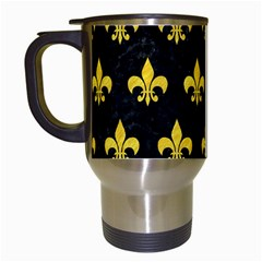 Royal1 Black Marble & Yellow Colored Pencil Travel Mugs (white) by trendistuff