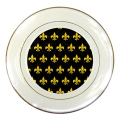 Royal1 Black Marble & Yellow Colored Pencil Porcelain Plates by trendistuff