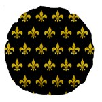 ROYAL1 BLACK MARBLE & YELLOW COLORED PENCIL Large 18  Premium Round Cushions Front