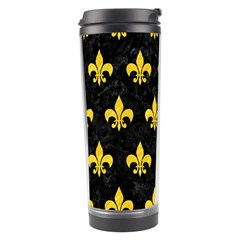 Royal1 Black Marble & Yellow Colored Pencil Travel Tumbler by trendistuff