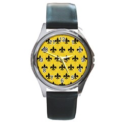 Royal1 Black Marble & Yellow Colored Pencil (r) Round Metal Watch by trendistuff