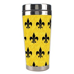 Royal1 Black Marble & Yellow Colored Pencil (r) Stainless Steel Travel Tumblers by trendistuff