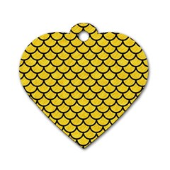 Scales1 Black Marble & Yellow Colored Pencil Dog Tag Heart (one Side) by trendistuff