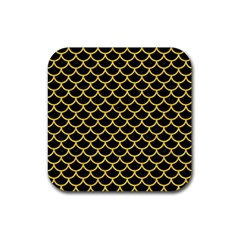 Scales1 Black Marble & Yellow Colored Pencil (r) Rubber Coaster (square)  by trendistuff
