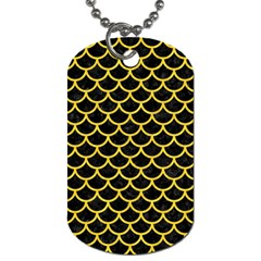 Scales1 Black Marble & Yellow Colored Pencil (r) Dog Tag (one Side)