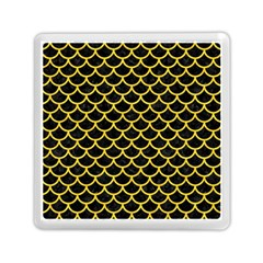 Scales1 Black Marble & Yellow Colored Pencil (r) Memory Card Reader (square)  by trendistuff