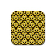 Scales2 Black Marble & Yellow Colored Pencil Rubber Square Coaster (4 Pack)  by trendistuff