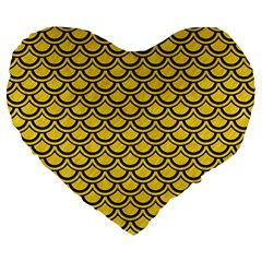 Scales2 Black Marble & Yellow Colored Pencil Large 19  Premium Flano Heart Shape Cushions by trendistuff