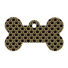 Scales2 Black Marble & Yellow Colored Pencil (r) Dog Tag Bone (two Sides) by trendistuff