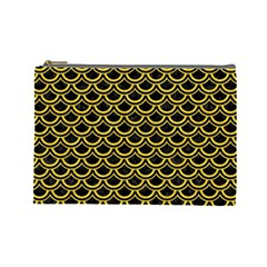 Scales2 Black Marble & Yellow Colored Pencil (r) Cosmetic Bag (large)  by trendistuff