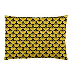 Scales3 Black Marble & Yellow Colored Pencil Pillow Case by trendistuff
