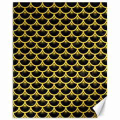 Scales3 Black Marble & Yellow Colored Pencil (r) Canvas 11  X 14   by trendistuff