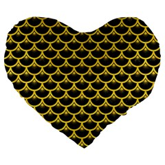 Scales3 Black Marble & Yellow Colored Pencil (r) Large 19  Premium Flano Heart Shape Cushions by trendistuff