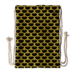 Scales3 Black Marble & Yellow Colored Pencil (r) Drawstring Bag (large) by trendistuff