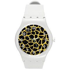 Skin1 Black Marble & Yellow Colored Pencil Round Plastic Sport Watch (m) by trendistuff