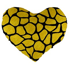 Skin1 Black Marble & Yellow Colored Pencil (r) Large 19  Premium Flano Heart Shape Cushions by trendistuff