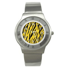 Skin3 Black Marble & Yellow Colored Pencil Stainless Steel Watch by trendistuff