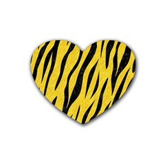 Skin3 Black Marble & Yellow Colored Pencil Rubber Coaster (heart)  by trendistuff