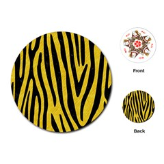 Skin4 Black Marble & Yellow Colored Pencil (r) Playing Cards (round)  by trendistuff