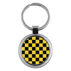 Square1 Black Marble & Yellow Colored Pencil Key Chains (round)  by trendistuff