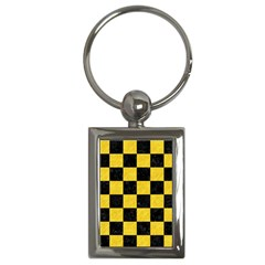 Square1 Black Marble & Yellow Colored Pencil Key Chains (rectangle)  by trendistuff