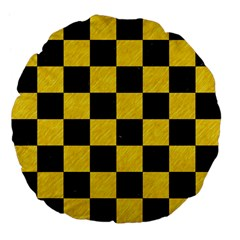 Square1 Black Marble & Yellow Colored Pencil Large 18  Premium Flano Round Cushions by trendistuff
