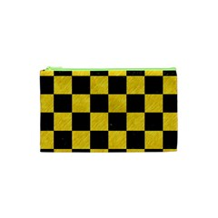 Square1 Black Marble & Yellow Colored Pencil Cosmetic Bag (xs) by trendistuff