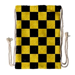 Square1 Black Marble & Yellow Colored Pencil Drawstring Bag (large) by trendistuff