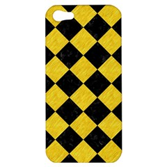 Square2 Black Marble & Yellow Colored Pencil Apple Iphone 5 Hardshell Case by trendistuff