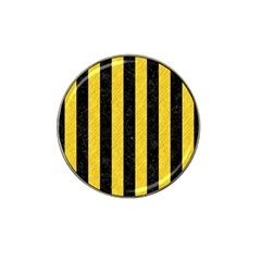 Stripes1 Black Marble & Yellow Colored Pencil Hat Clip Ball Marker by trendistuff