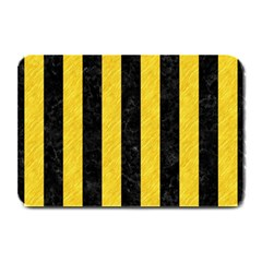Stripes1 Black Marble & Yellow Colored Pencil Plate Mats by trendistuff