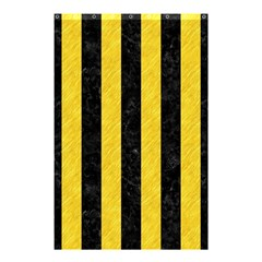 Stripes1 Black Marble & Yellow Colored Pencil Shower Curtain 48  X 72  (small)  by trendistuff