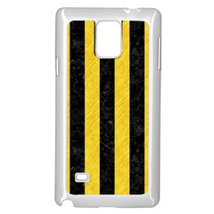 Stripes1 Black Marble & Yellow Colored Pencil Samsung Galaxy Note 4 Case (white)