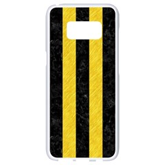 Stripes1 Black Marble & Yellow Colored Pencil Samsung Galaxy S8 White Seamless Case by trendistuff