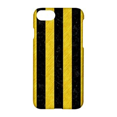 Stripes1 Black Marble & Yellow Colored Pencil Apple Iphone 8 Hardshell Case by trendistuff