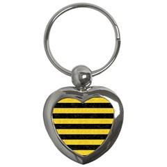 Stripes2 Black Marble & Yellow Colored Pencil Key Chains (heart)  by trendistuff